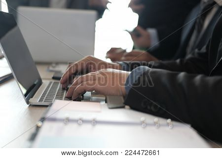 Financial Inspector Analyze Accounting Plan Report. Businessman Working With New Startup Project. In