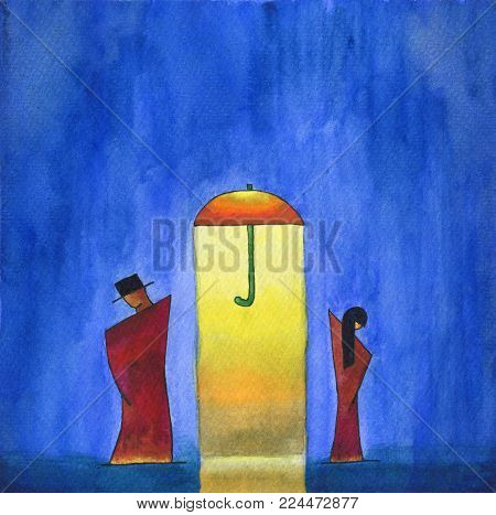 Man and woman are watching in an opposite directions. Watercolor painting