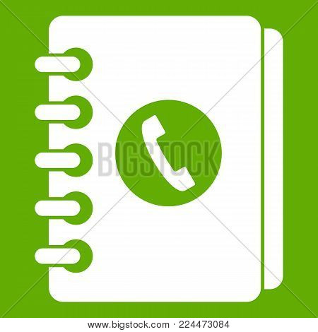 Address book icon white isolated on green background. Vector illustration