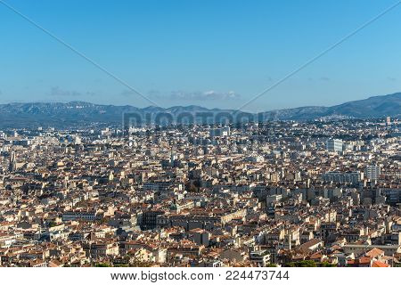 Aerial panoramic view of Marseille from basilica of Notre Dame de la Garde in Marseille, Provence, France. poster