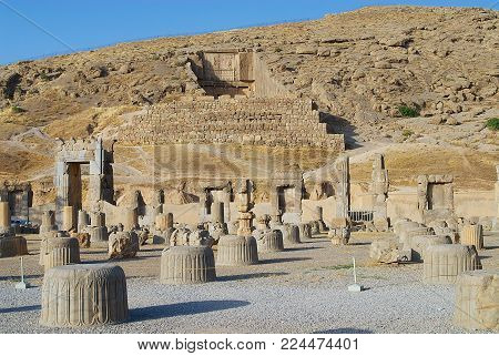SHIRAZ, IRAN - JUNE 19, 2007: View to the ruins of Persepolis in Shiraz, Iran. Persepolis is a UNESCO World Heritage site.