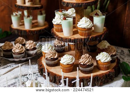 Candy bar on wooden wedding party with a lot of different candies, cupcakes, souffle and cakes. Decorated in brown and green colors, nature and eco theme, indoor poster
