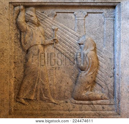 ZAGREB, CROATIA - AUGUST 19: The Annunciation by Ivan Mestrovic in the church of St. Mark in Zagreb, Croatia on August 19, 2017.