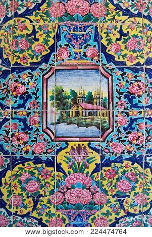 SHIRAZ, IRAN - JUNE 20, 2007: Detail of the exterior wall decoration of the Nasir al-Mulk mosque in Shiraz, Iran.