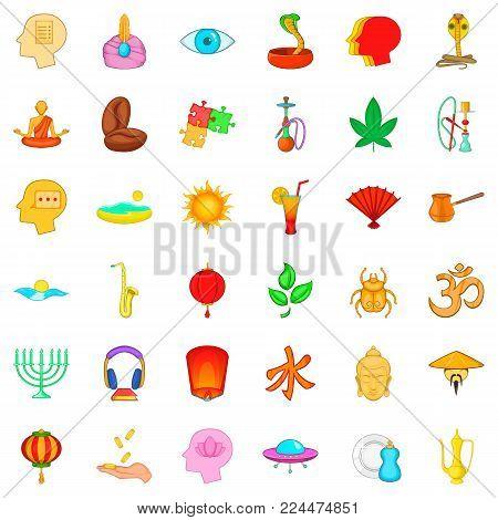 Meditation practice icons set. Cartoon set of 36 meditation practice vector icons for web isolated on white background