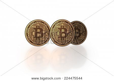 Bitcoins in cryptocurrency blockchain concept - 3d rendering