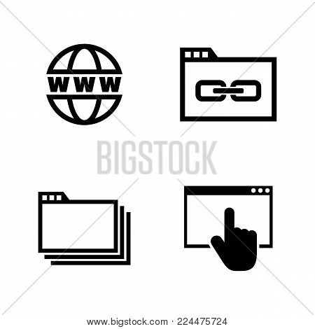 Web Browsing. Simple Related Vector Icons Set for Video, Mobile Apps, Web Sites, Print Projects and Your Design. Black Flat Illustration on White Background.