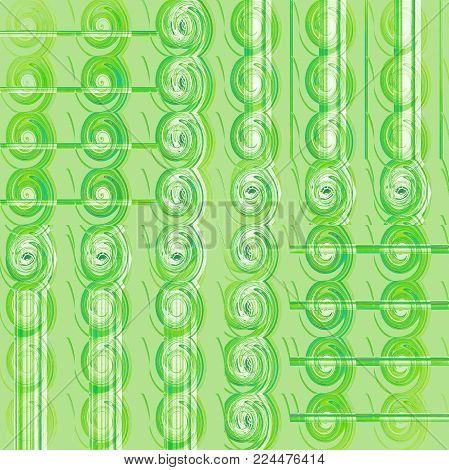 Abstract geometric background. Regular spirals pattern in light green shades and white, vertically shifted.