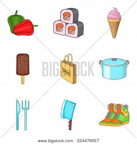 Food lifestyle icons set. Cartoon set of 9 food lifestyle vector icons for web isolated on white background