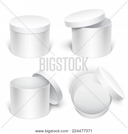 Empty white package gift boxes. Template or mock-up on white background