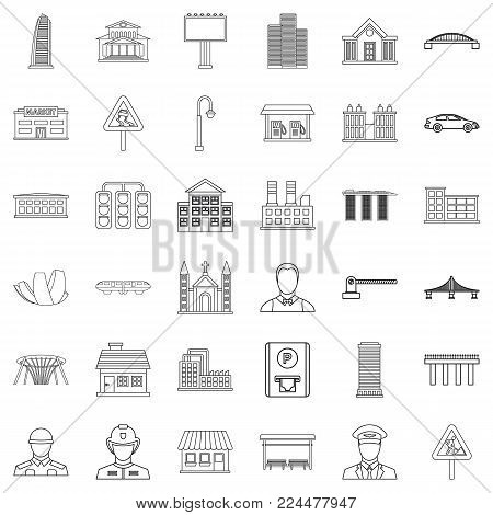 Huge city icons set. Outline set of 36 huge city vector icons for web isolated on white background