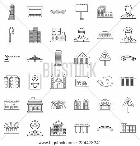 City council icons set. Outline set of 36 city council vector icons for web isolated on white background