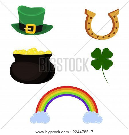 Pot of gold, leprechaun hat, horseshoe, four leaf clover and rainbow. Set of symbol for St. Patrick's Day. Isolated on white background. Vector illustration.