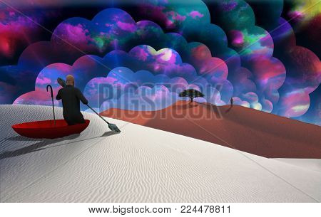 Surreal painting. Man in red umbrella floating on white desert. Figure of man in a distance. Multilayered spaces represents endless dimensions. 3D rendering