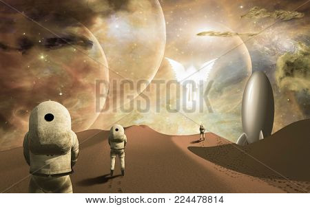 Astronauts on alien planet and their rocket ship  greeted by angelic glowing winged figure. Some elements provided courtesy of NASA. 3D rendering