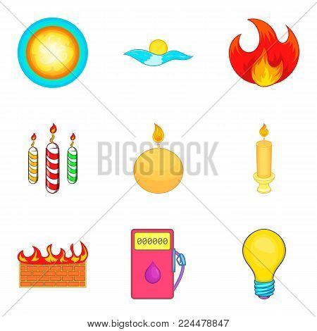 Searchlight icons set. Cartoon set of 9 searchlight vector icons for web isolated on white background