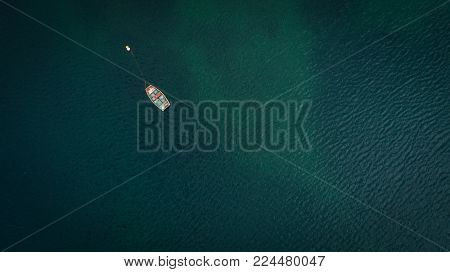 Aerial Views Over Gansbaai Harbor In The Overberg In The Western Cape Of South Africa With Fishing V