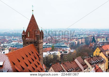 Cityscape Of Nuremberg With Snow Covered Roofs, Germany