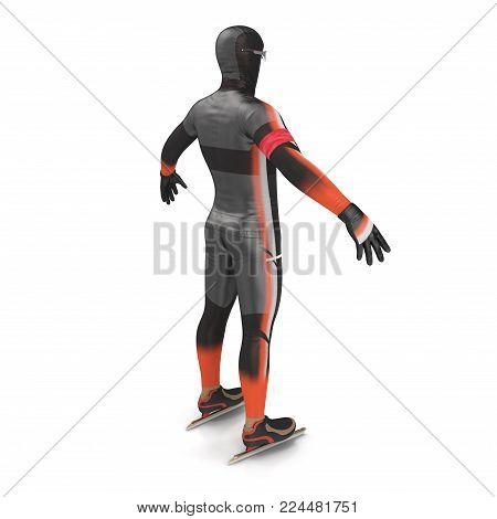 Ice speed skater uniform on white background. 3D illustration