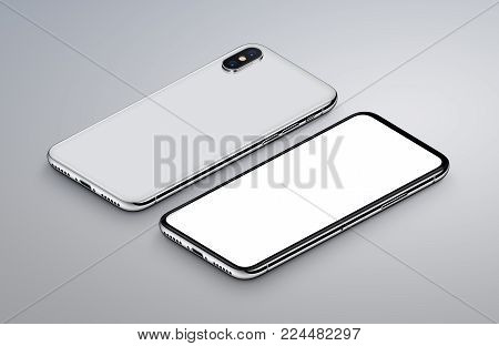 Perspective view isometric white smartphone mockup. New frameless smartphone back side and front side mockup. Ready to use smartphone mockup poster for mobile app presentation. 3D illustration.