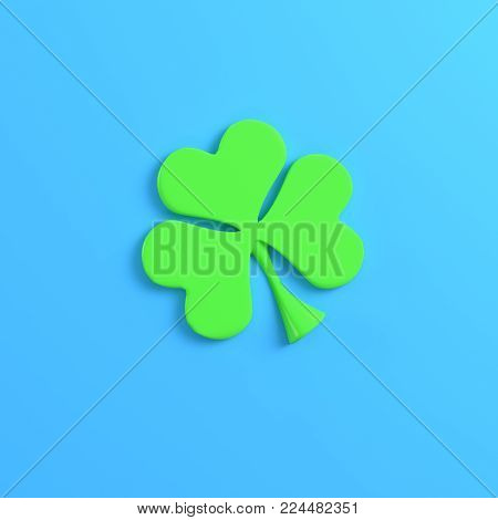 Clover on bright blue background. Minimalism concept. 3d render