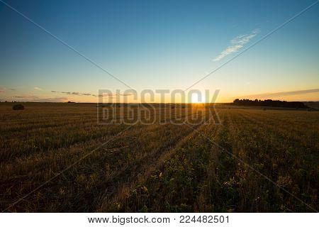 Beautiful Summer Landscape On Agricultural Field With Hay Straw Bales In Countryside At Sunset Or Sunrise.