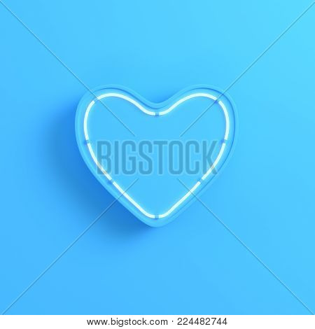 Heart with neon light on bright blue background. Minimalism concept. 3d render