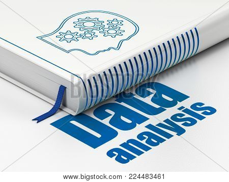 Information concept: closed book with Blue Head With Gears icon and text Data Analysis on floor, white background, 3D rendering