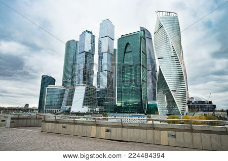 Moscow, Russia. Moscow City. Modern Architectural Buildings Of Business Center Of Moscow City Comple