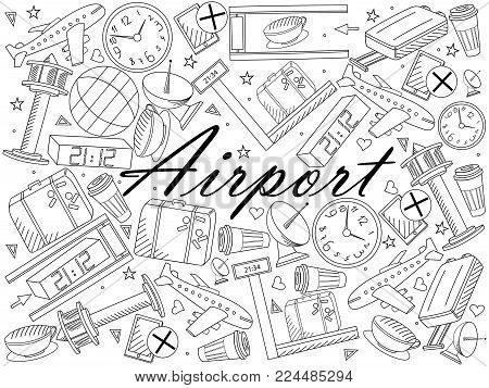 Airport line art design vector illustration. Separate objects. Hand drawn doodle design elements.