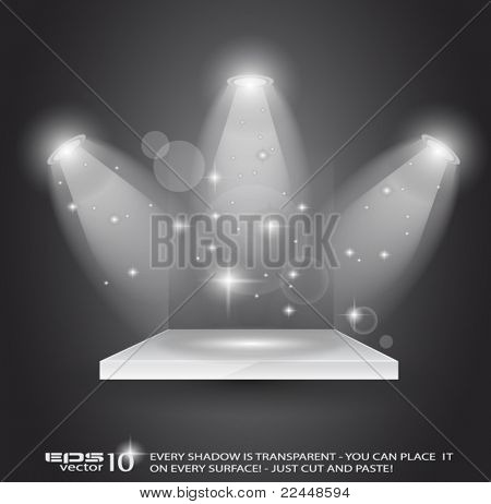Magic Spotlights with light rays and glowing effect for people or product advertising. Every lights and shadow are transparent.