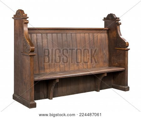 Old antique original church pew bench isolated on white with clip path