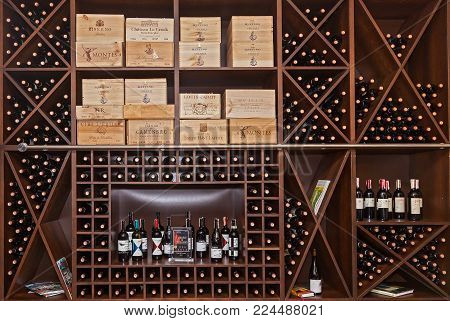 Ukraine Kiev January 25, 2018: Boxes of wine lying on a shelf. Boxes of wine.