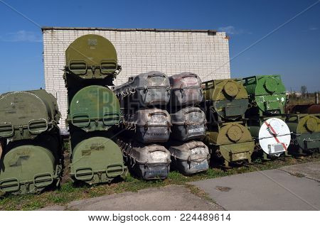 Buk M1 mobile air defense system missiles containers (grey).Ukraine
