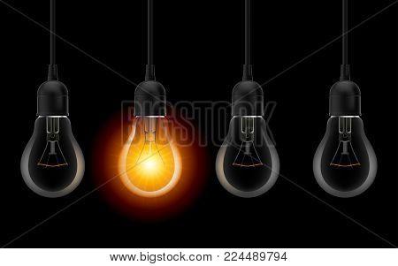 Light bulb illuminated. Stylish Bulbs Conceptual Digital Idea Design Background, Light bulb banner on Dark Background