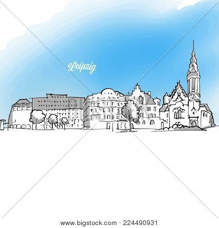 Leipzig Panorama Outline Banner Illustration. Colored Greeting Card Layout and Banner Design
