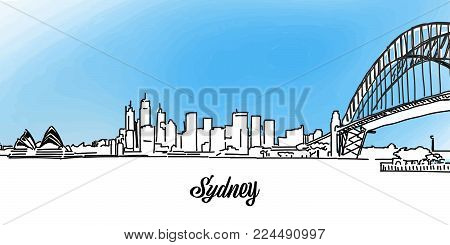 Sydney Vector Panorama Banner. Layout for Greeting Card and Banner Design. Marketing Sketch