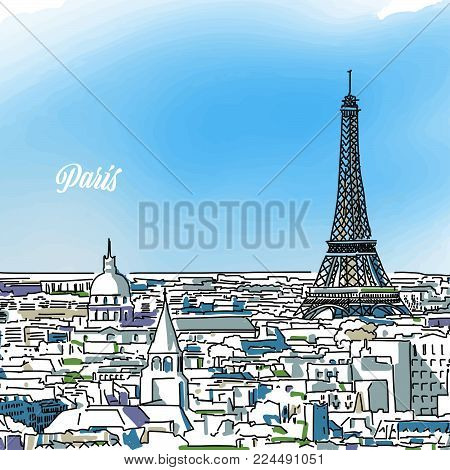 Paris Colored Panorama Banner. Layout for Greeting Card and Banner Design. Marketing Sketch