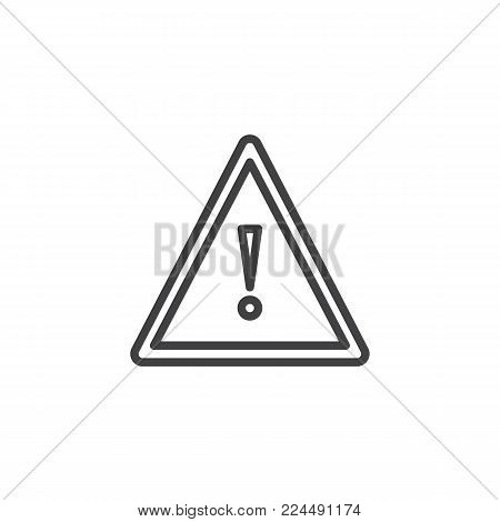 Hazard warning attention line icon, outline vector sign, linear style pictogram isolated on white. Triangular signal with Exclamation sign symbol, logo illustration. Editable stroke