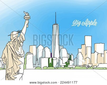 New York Big Apple Panorama Banner. Layout for Greeting Card and Banner Design. Marketing Sketch
