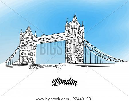 London Tower Bridge Banner. Layout for Greeting Card and Banner Design. Marketing Sketch