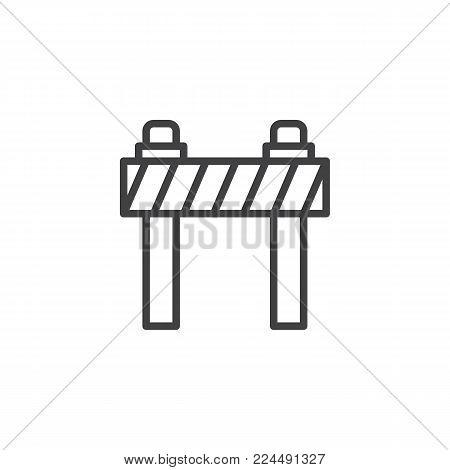Road barrier line icon, outline vector sign, linear style pictogram isolated on white. Traffic barrier symbol, logo illustration. Editable stroke