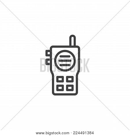 Walkie talkie line icon, outline vector sign, linear style pictogram isolated on white. Radio transceiver symbol, logo illustration. Editable stroke