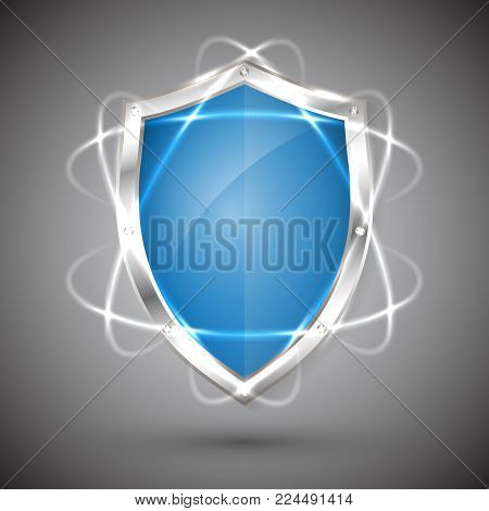 Shield with a guarantee icon. Warranty Label obligations. Safeguard sign. Protect badge. Security Vector illustration.