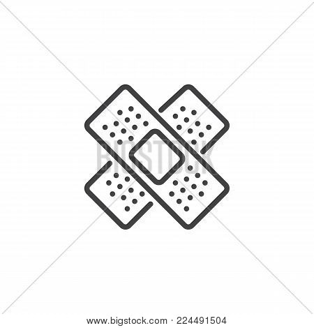 Medical plaster line icon, outline vector sign, linear style pictogram isolated on white. Adhesive tape bandage symbol, logo illustration. Editable stroke