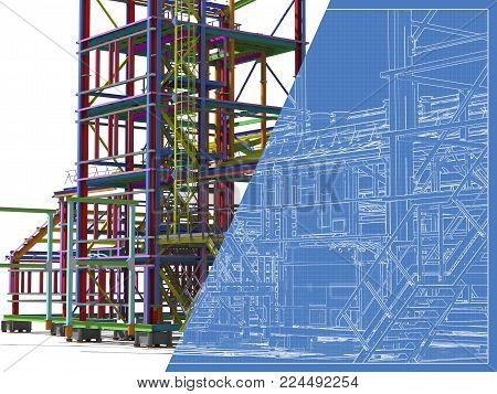 3D rendering. Construction of metal buildings. Engineering background. Blueprint construction background.