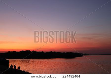 Beautifull twilight scene on river shore in Belgrade