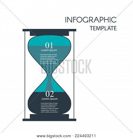 Sandglass infographic. Steps infographics with hourglass. Template for diagram, graph, presentation and chart. Business concept with 2 options, parts, steps or processes. Data visualization.
