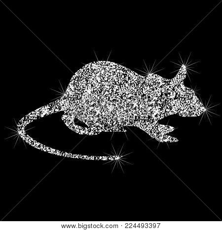 A Brilliant Icon Of The Rat. Effect Of Diamond. Transparent Silver Jewelry Sign. Sparkling Icon Of R