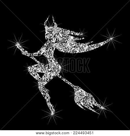 A Shiny Icon Of A Witch Flying On A Broom. Effect Of Diamond. Transparent Silver Jewelry Sign. Spark